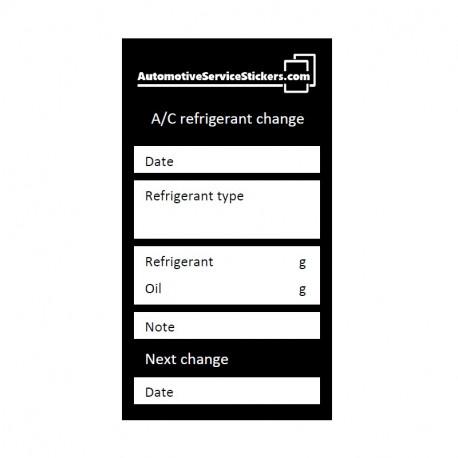 A/C refrigerant change stickers 50 pieces
